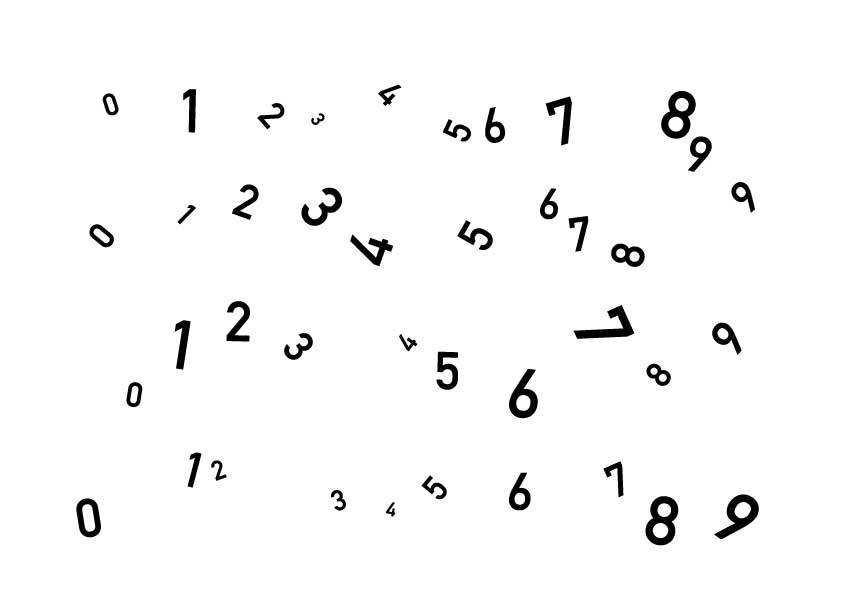 バラバラな数字の見本